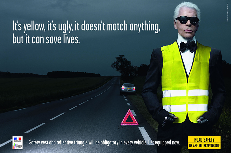 high vis ad with Karl Lagerfeld