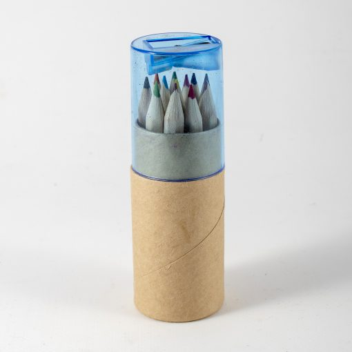 colouring crayon set with sharpener in tube