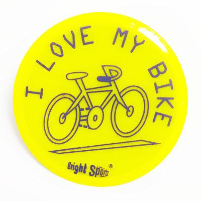 I love my bike reflective pin badge