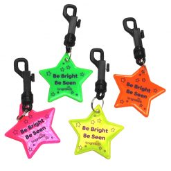 clip on reflective stars in four colours