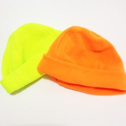 fleece beanie hats fluorescent yellow or orange