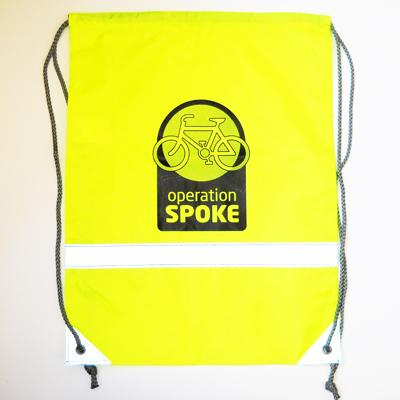 custom printed high vis drawstring bag