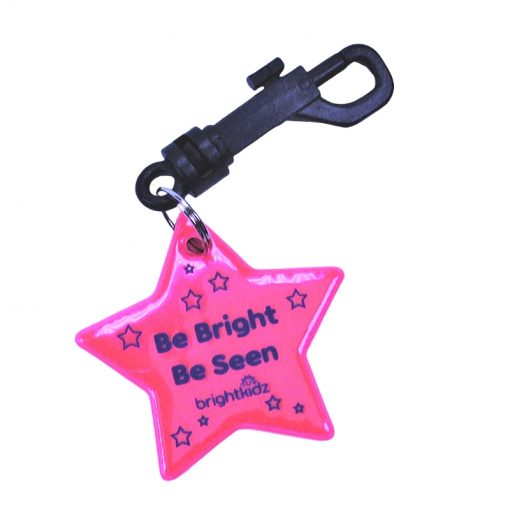 pink star reflective clip on