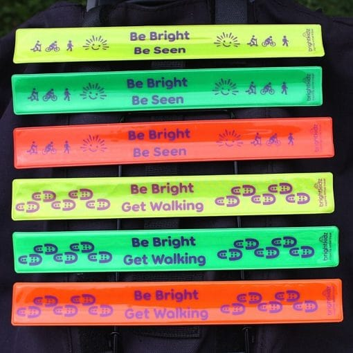 reflective snapbands in walk and be seen designs