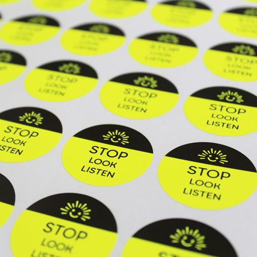 stop look listen road safety stickers