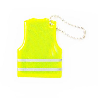 yellow high vis vest shaped reflector on chain