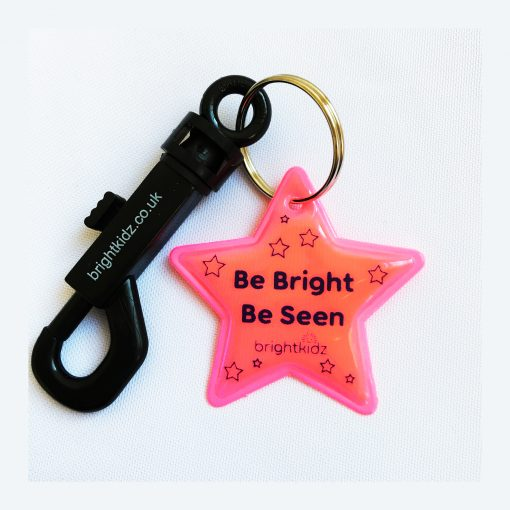 clip on reflective star pink