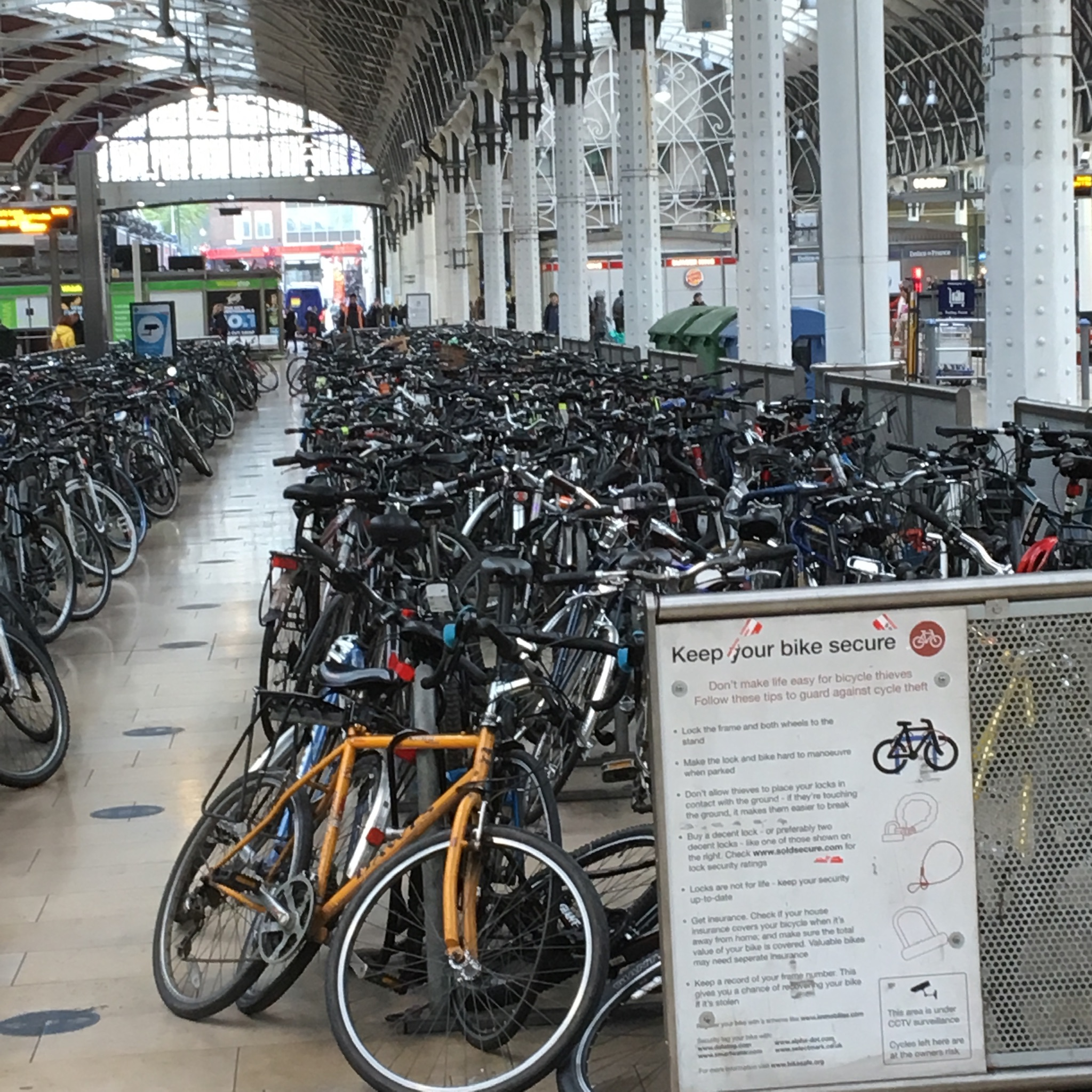cycle storage at Paddington station