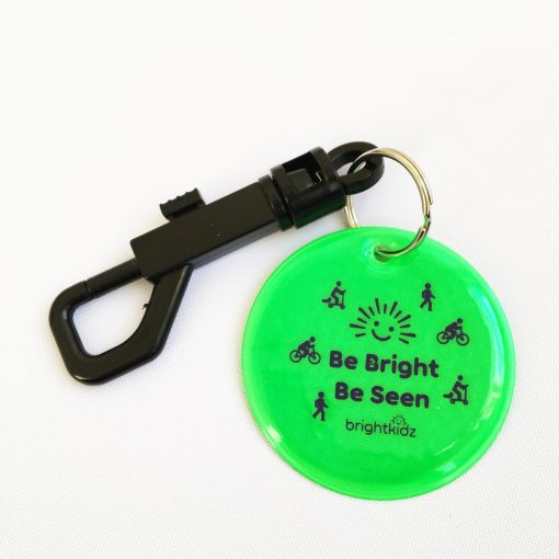 green reflective clip on with be seen design