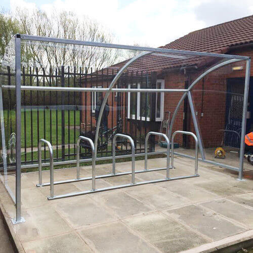 cycle shelter and rack for 10 bikes