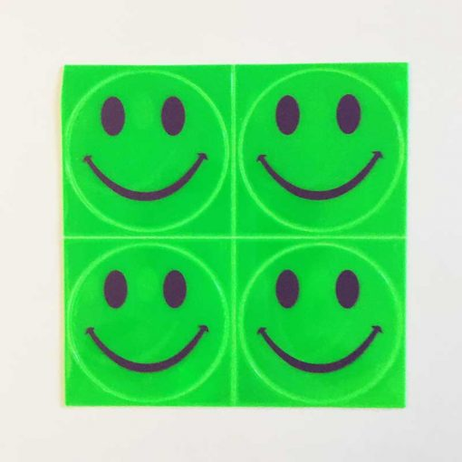 reflective smiles stick ons green