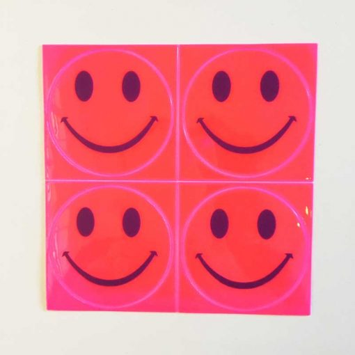 reflective smiles stick ons pink