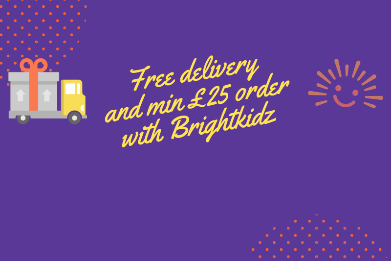 free delivery and min £25 order with brightkidz