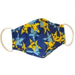 face covering printed blue and yellow star design