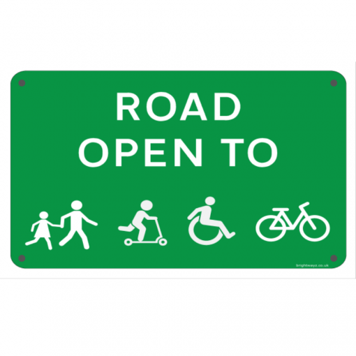 road open to sign reflective