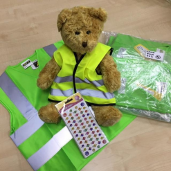 teddy with green high vis waistcoats