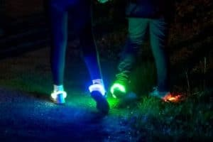 LED shoe lights in use at night
