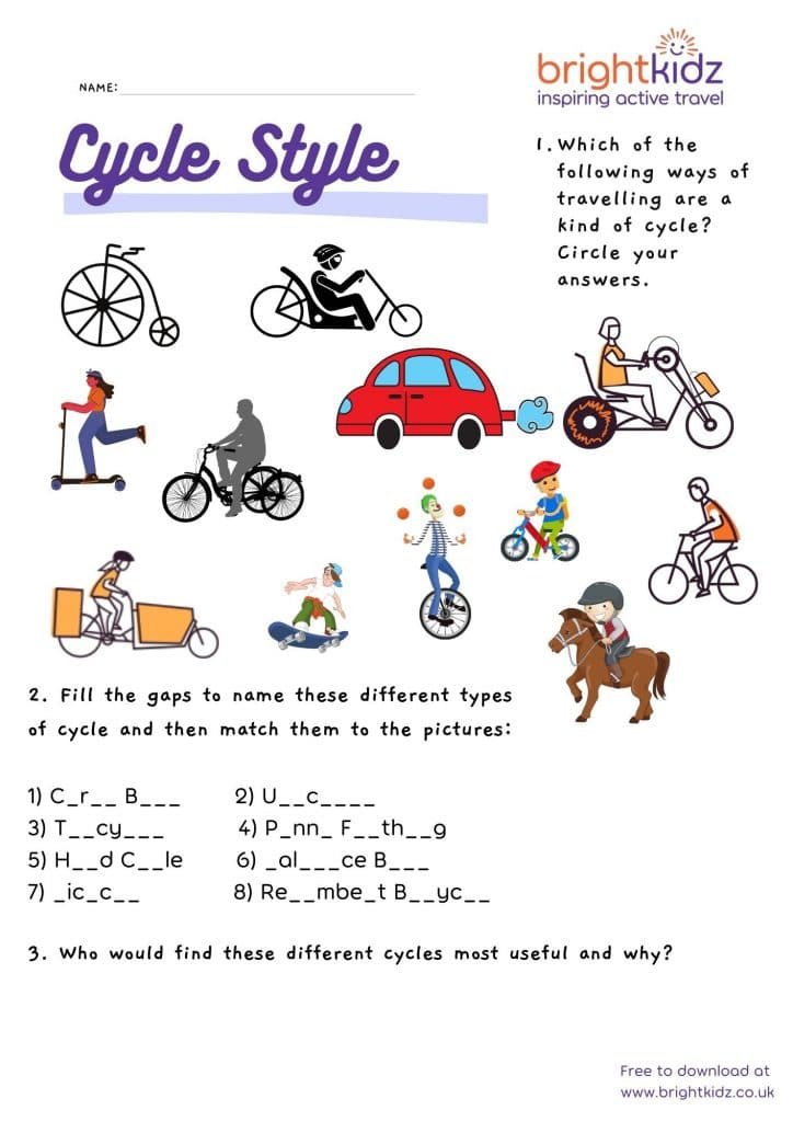 cycle style activity sheet