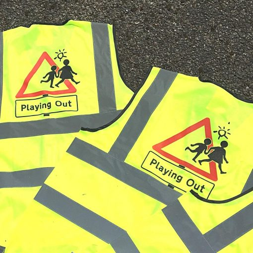 yellow high vis waistcoats with playing out logo