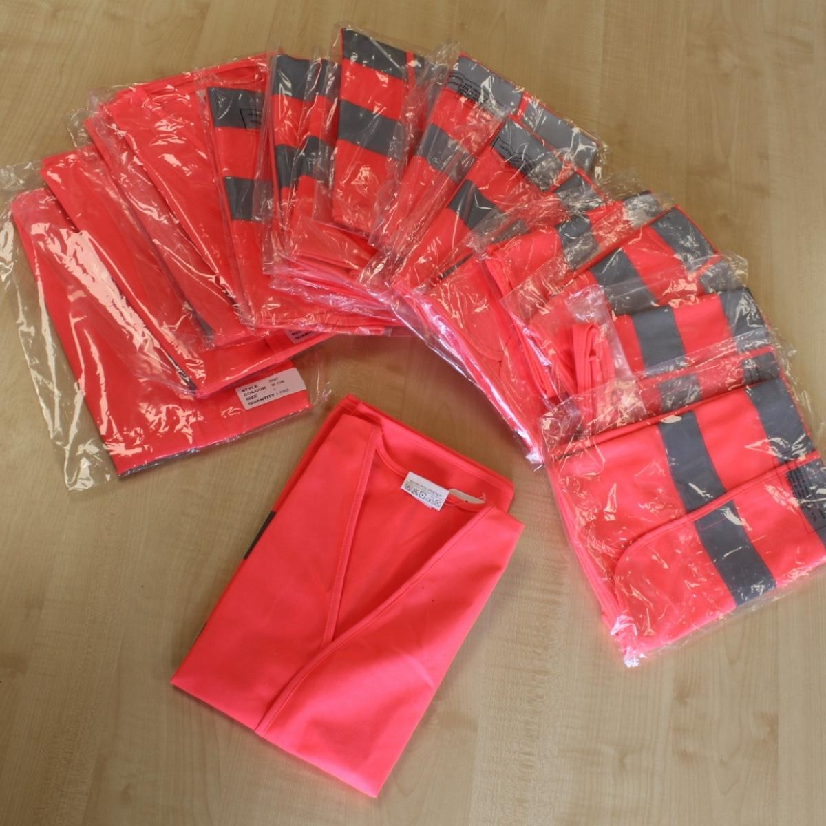 18 Pink waistcoats of assorted sizes